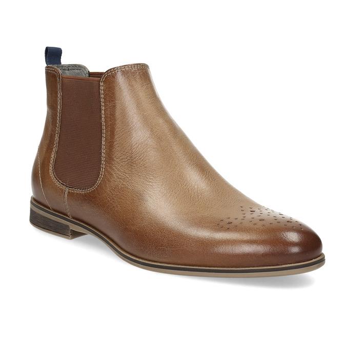 Skórzane botki damskie typu chelsea bata, brązowy, 596-3684 - 13