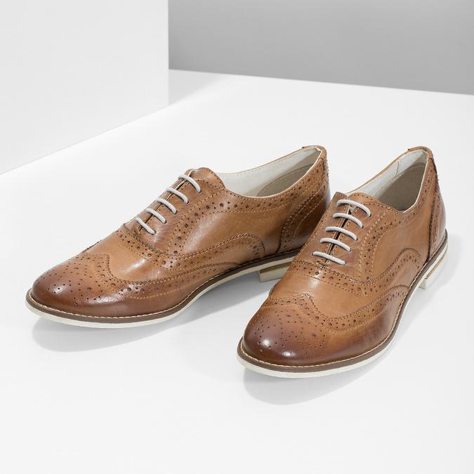 Brązowe skórzane półbuty damskie bata, brązowy, 526-3649 - 16