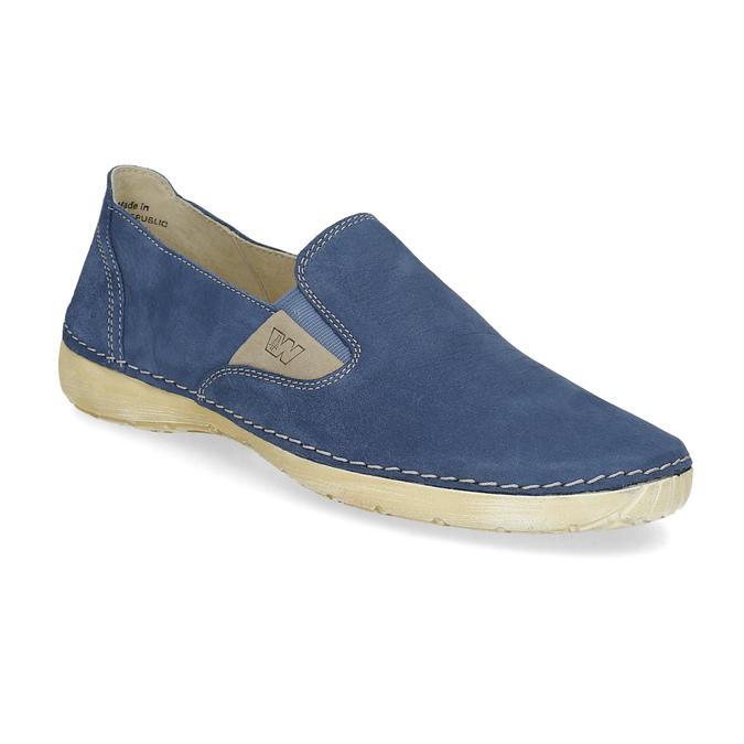 Niebieskie skórzane slip-on damskie weinbrenner, 536-9606 - 13