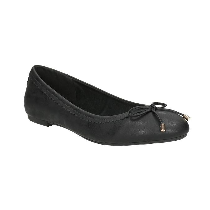Czarne baleriny damskie zkokardkami bata, czarny, 521-6611 - 13