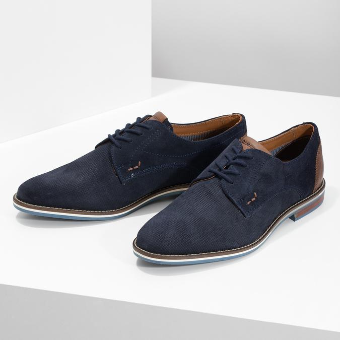 Skórzane półbuty zpodeszwą wpaski bata, niebieski, 823-9600 - 16
