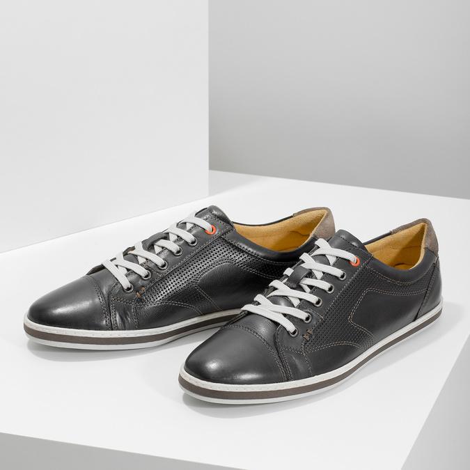 Męskie skórzane buty sportowe bata, czarny, 846-6617 - 16
