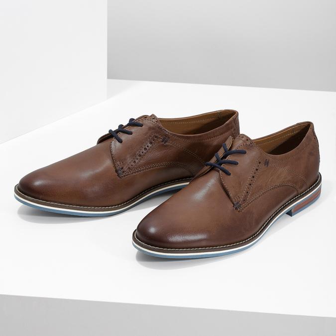 Brązowe półbuty ze skóry, zpodeszwą wpaski bata, brązowy, 826-4790 - 16