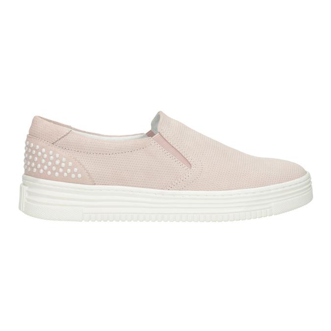 Skórzane slip-on damskie bata, różowy, 533-5600 - 26