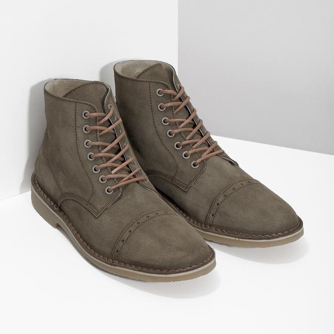 Zamszowe obuwie za kostkę bata, khaki, 823-7629 - 26