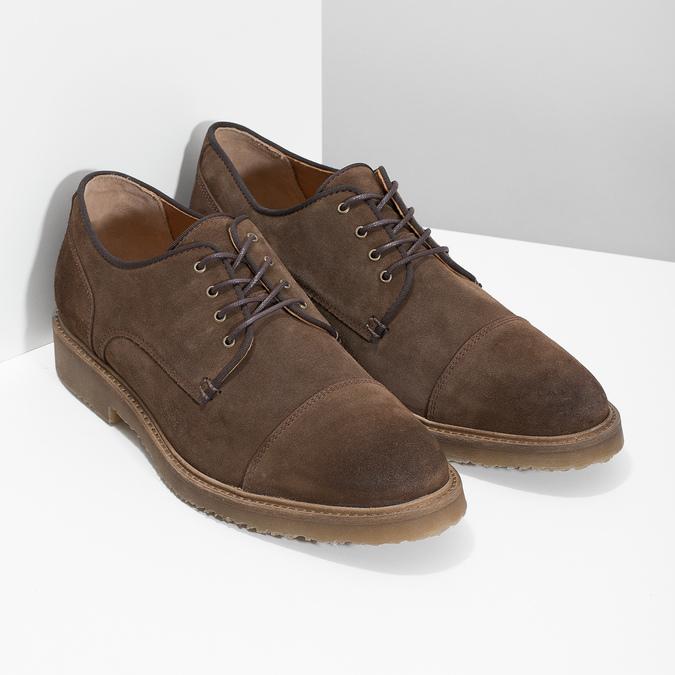 Brązowe zamszowe półbuty bata, brązowy, 823-4626 - 26