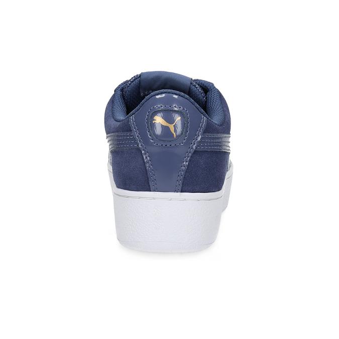 Skórzane trampki na grubej podeszwie puma, niebieski, 503-9923 - 15