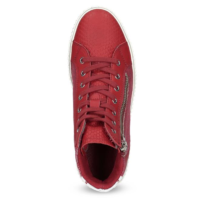 Czerwone skórzane trampki za kostkę bata, czerwony, 596-5692 - 17