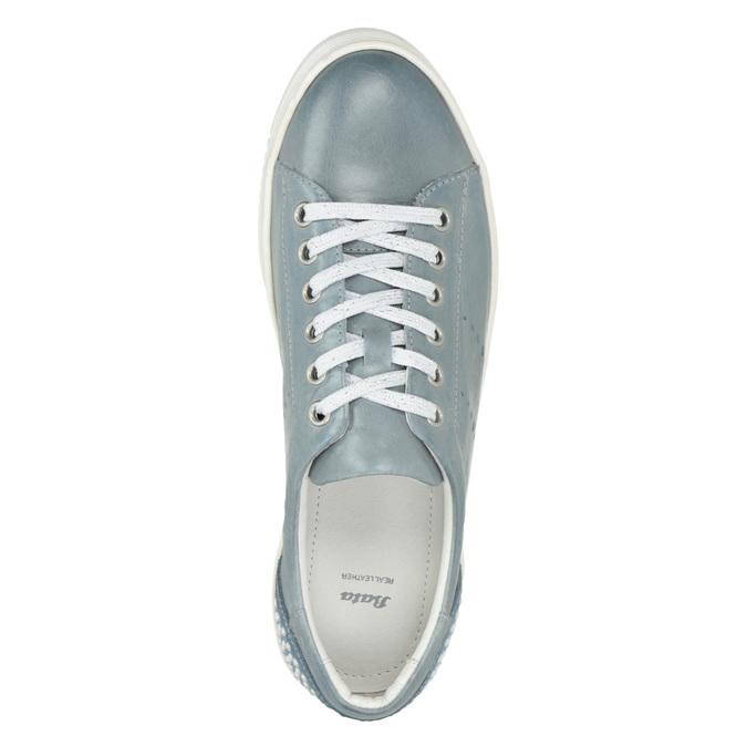 Skórzane trampki damskie zperełkami bata, niebieski, 546-9606 - 15