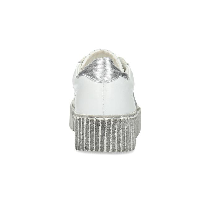 Białe skórzane trampki na grubej podeszwie bata, biały, 546-1616 - 15