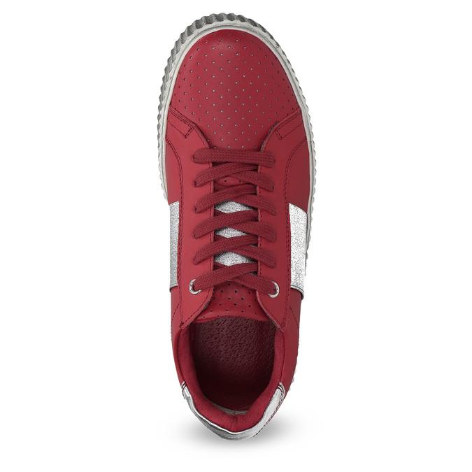 Czerwone skórzane trampki na platformie bata, czerwony, 546-5616 - 17