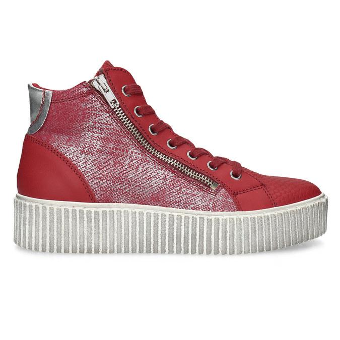 Czerwone skórzane trampki za kostkę bata, czerwony, 596-5692 - 19