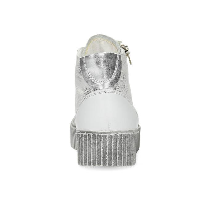 Skórzane trampki za kostkę na kontrastowej podeszwie bata, biały, 596-1692 - 15