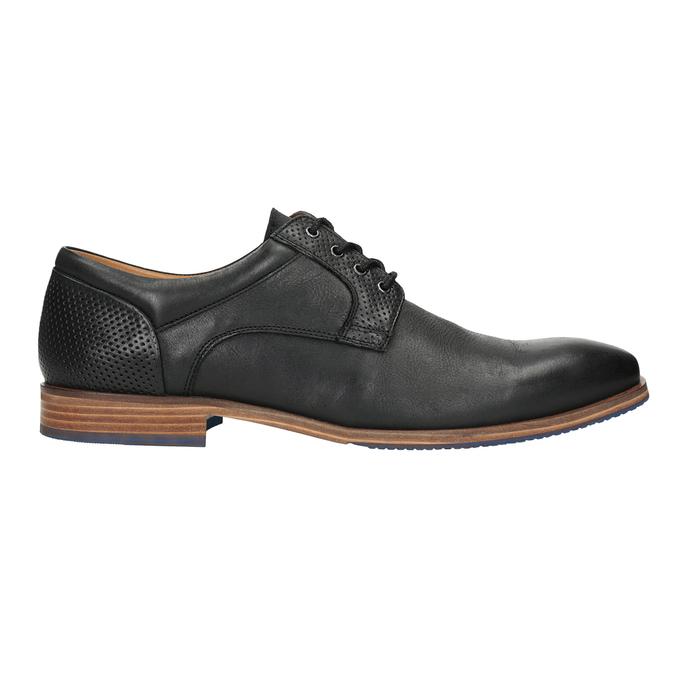 Skórzane półbuty zniebieską podeszwą bata, czarny, 824-6631 - 16