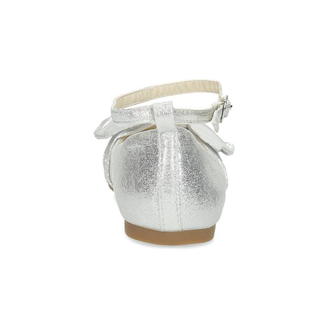 Srebrne baleriny dziewczęce zkokardami mini-b, srebrny, 329-1227 - 15