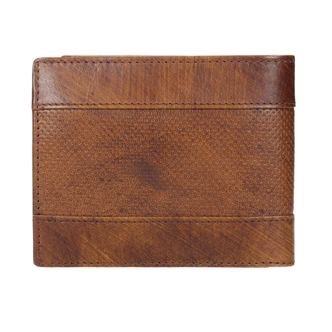 Skórzany portfel męski zperforacją bata, brązowy, 944-3192 - 16