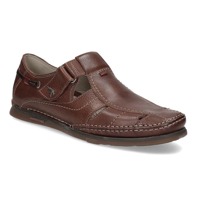 Skórzane sandały na rzepy fluchos, brązowy, 864-4605 - 13