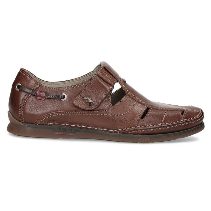 Skórzane sandały na rzepy fluchos, brązowy, 864-4605 - 19