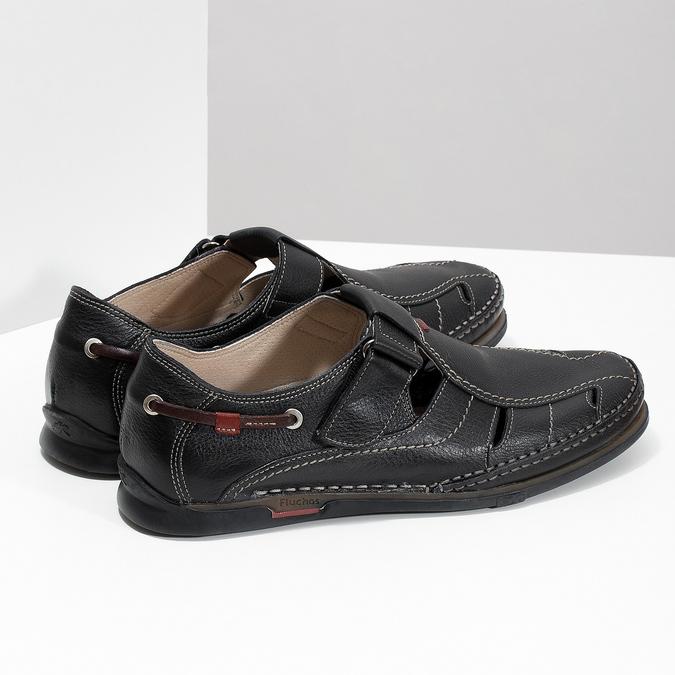 Skórzane sandały zprzeszyciami fluchos, czarny, 864-6605 - 16