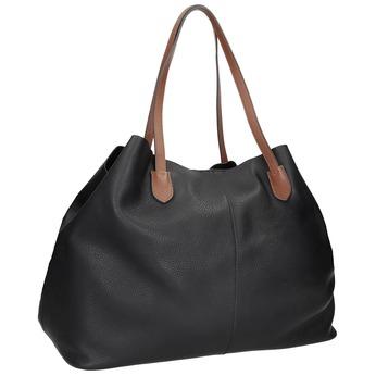 Czarna skórzana torebka zbrązowymi uchwytami bata, czarny, 964-6293 - 13