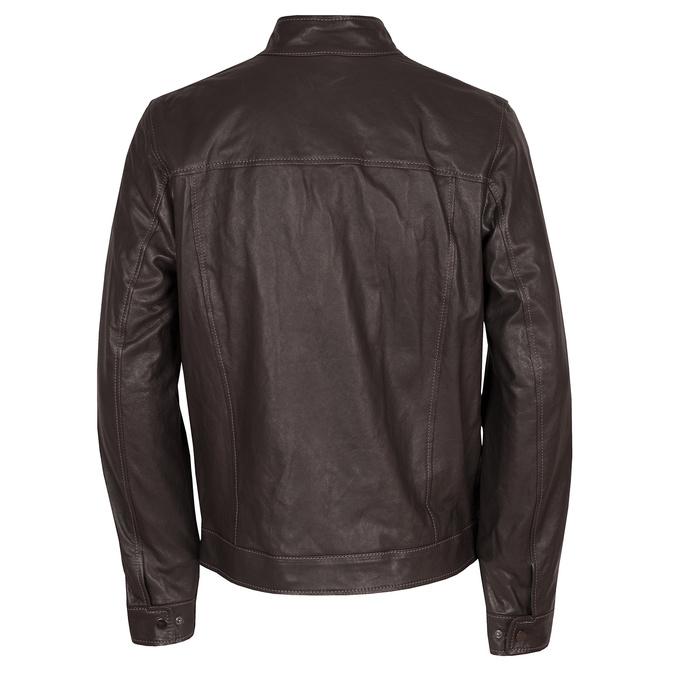 Ciemnobrązowa skórzana kurtka męska bata, brązowy, 974-4134 - 26
