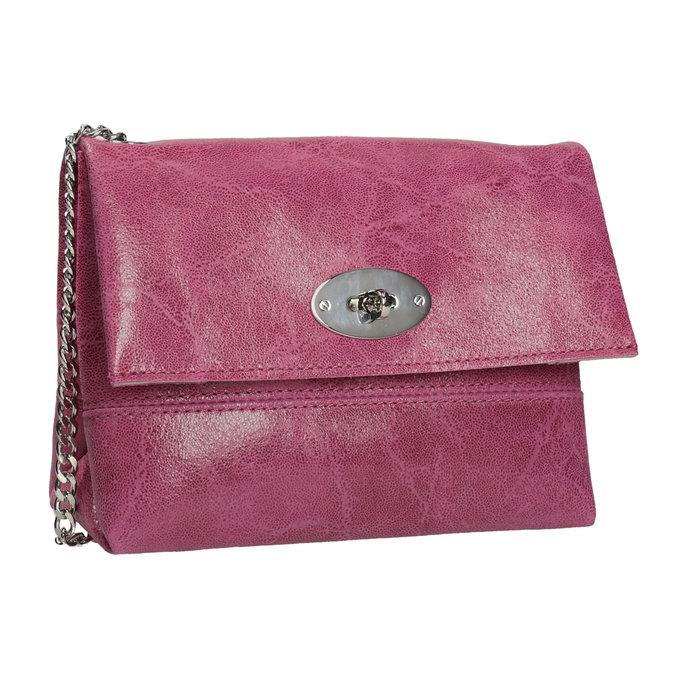 Skórzana torebka typu crossbody złańcuszkiem bata, czerwony, 964-5249 - 13