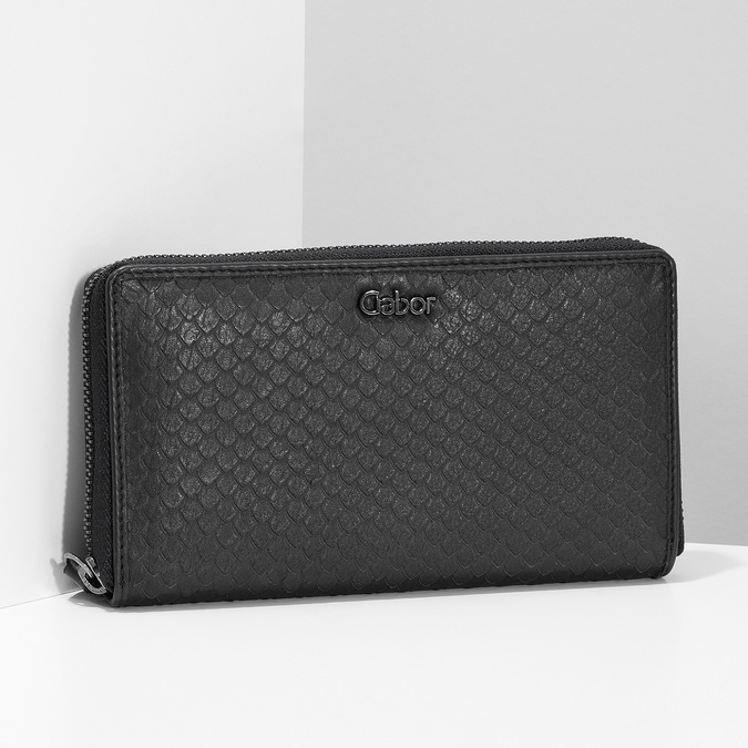 Skórzany portfel damski ofakturze łusek gabor-bags, czarny, 946-6002 - 17