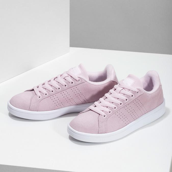 Różowe skórzane trampki damskie adidas, różowy, 503-5478 - 16