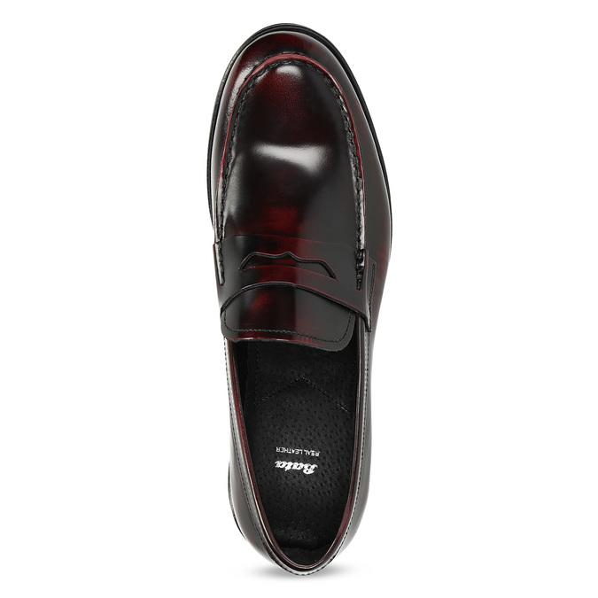 Skórzane mokasyny męskie oczerwonym połysku bata, czerwony, 814-5177 - 17