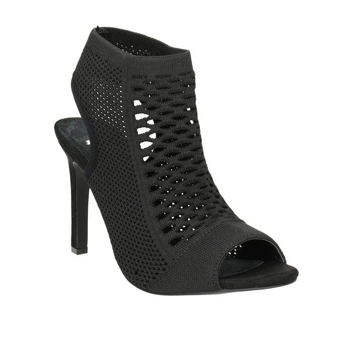 Sandały na obcasach, zdzianinową cholewką bata, czarny, 729-6617 - 13