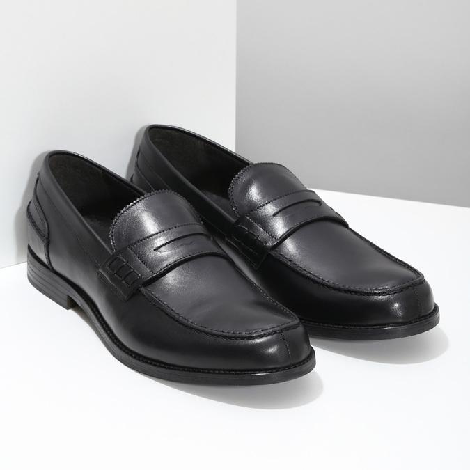 Czarne skórzane mokasyny męskie bata, czarny, 814-6128 - 26