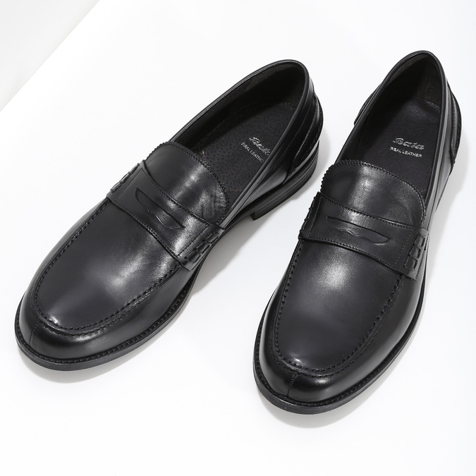 Czarne skórzane mokasyny męskie bata, czarny, 814-6128 - 16