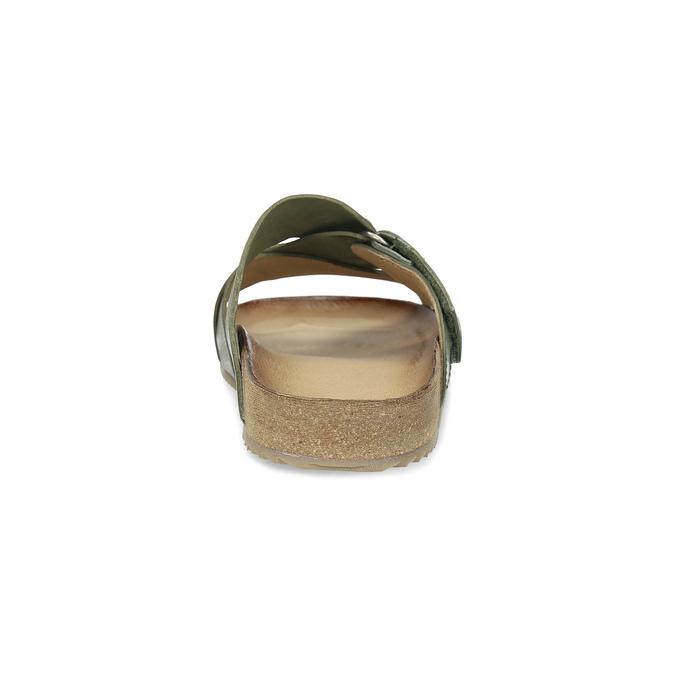 Skórzane klapki wkolorze khaki bata, khaki, 866-7647 - 15