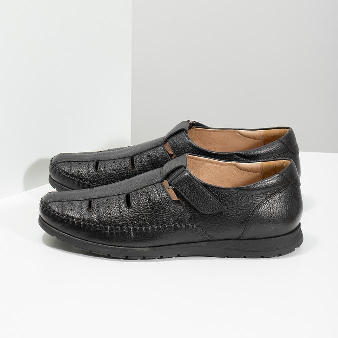Czarne skórzane sandały męskie na wygodnej podeszwie comfit, czarny, 854-6602 - 16