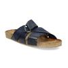 Granatowe skórzane klapki bata, niebieski, 866-9647 - 13