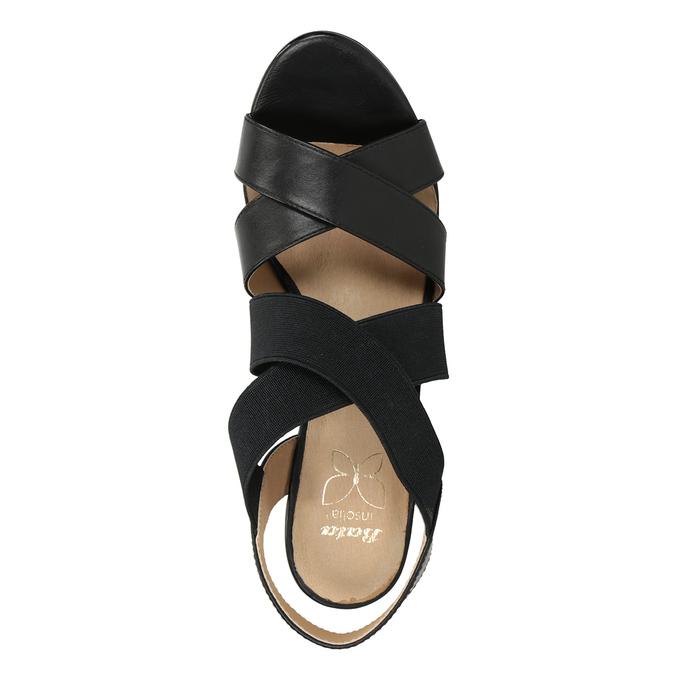 Czarne skórzane sandały na obcasach, zelastycznymi paskami insolia, czarny, 766-6606 - 17