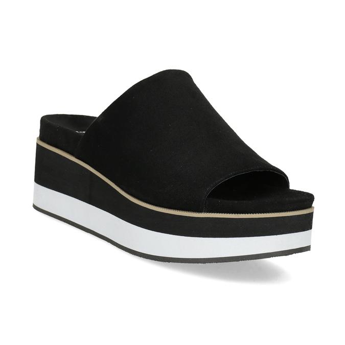 Czarno-białe klapki na platformie bata, czarny, 769-6630 - 13