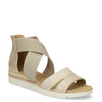 Złote sandały damskie na koturnach bata, beżowy, 569-8608 - 13