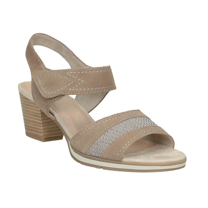 Skórzane sandały oszerokościH zkryształkami bata, beżowy, 666-8616 - 13
