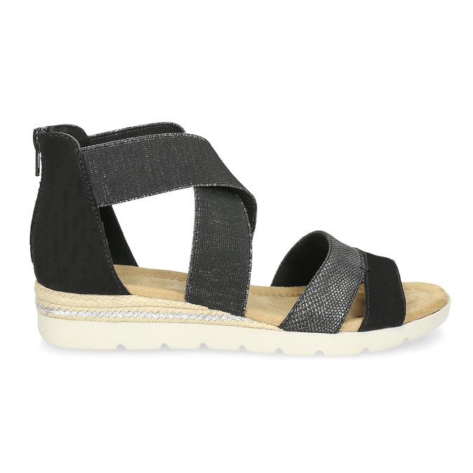 Czarno-srebrne sandały damskie bata, czarny, 569-6608 - 19