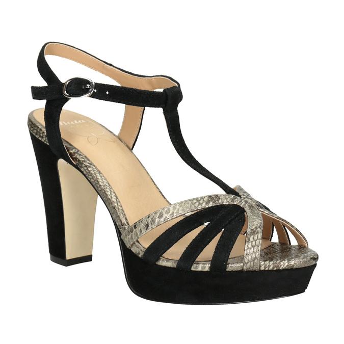 Czarno-złote skórzane sandały na obcasach insolia, czarny, 766-6605 - 13