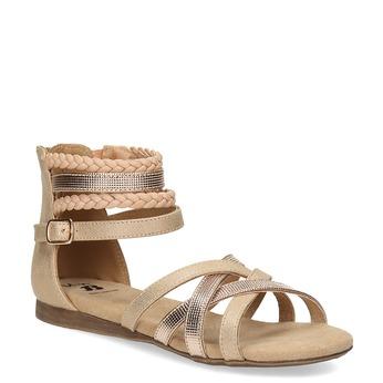 Złote sandały dziewczęce zwyplatanymi paskami mini-b, złoty, 361-8605 - 13