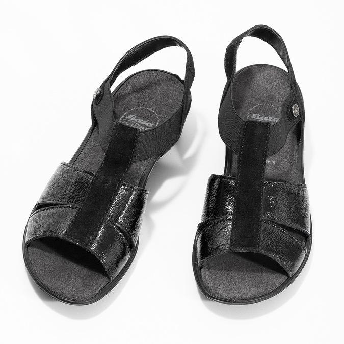 Czarne skórzane sandały na koturnach comfit, czarny, 666-6620 - 16