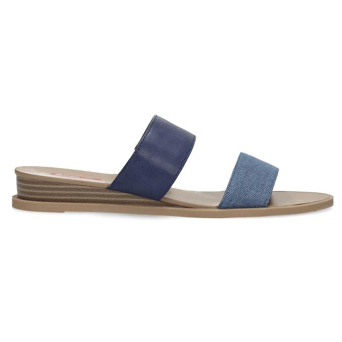 Granatowe klapki damskie na niskich koturnach bata-red-label, niebieski, 561-9609 - 19