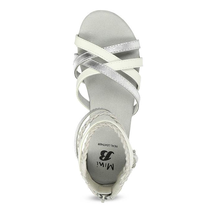 Biało-srebrne sandały dziewczęce mini-b, srebrny, 361-1605 - 17