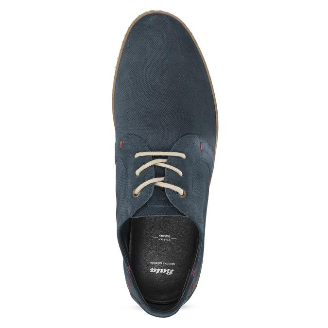 Granatowe skórzane trampki zperforacją bata, niebieski, 823-9617 - 17