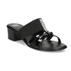 Czarne sandały zkryształkami na niskich obcasach comfit, czarny, 661-4611 - 13