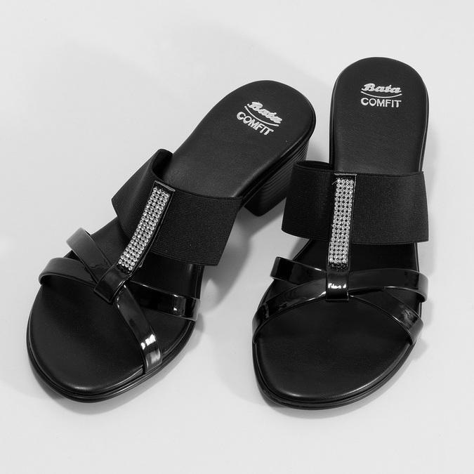 Czarne sandały zkryształkami na niskich obcasach comfit, czarny, 661-4611 - 16