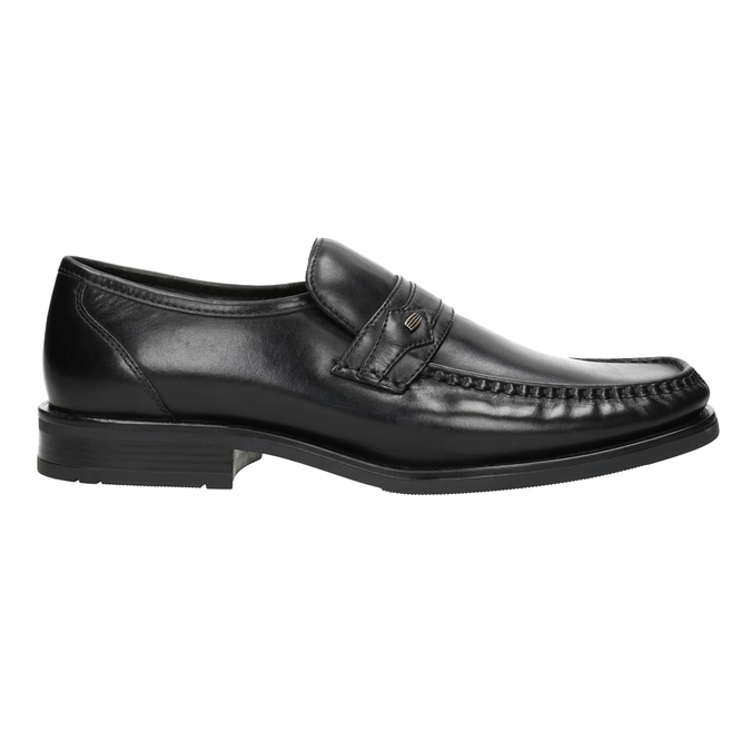 Czarne skórzane mokasyny męskie bata, czarny, 814-6625 - 26
