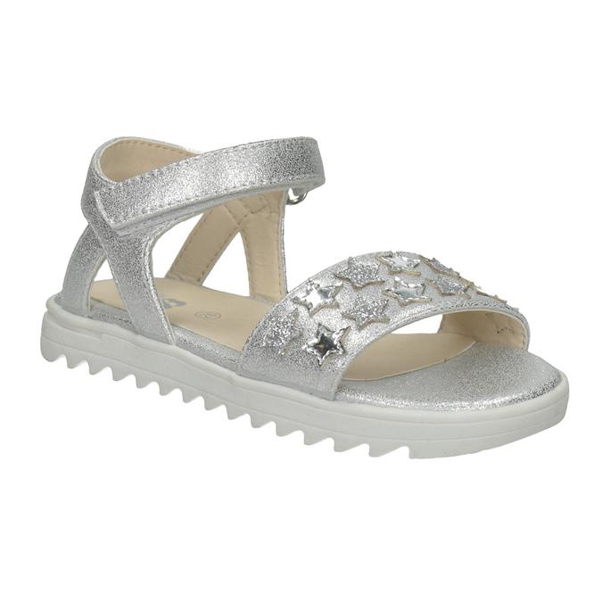 Srebrne sandały dziewczęce zgwiazdkami mini-b, biały, 261-1211 - 13